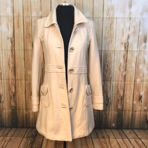 Tulle beige wool single breasted trench coat SZ.M